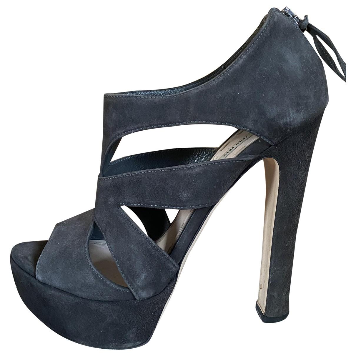 Miu Miu N Black Suede Heels for Women 36 IT