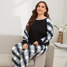 Pajama Set mit Karo Muster und Raglanaermeln