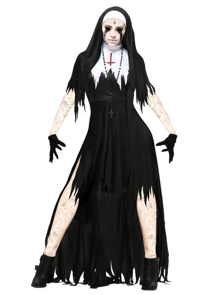 Milanoo Disfraz de Halloween para mujer Vestido de vacaciones en capas de dos tonos de fibra plyester negro
