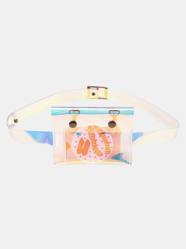 Women Transparent Mini Laser Waist Bag Envelope Bag