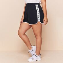 Plus Letter Graphic Sideseam Track Shorts