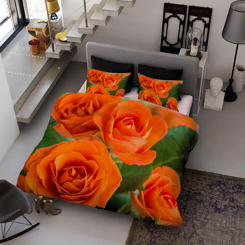 Blooming Yellow Roses Wear-resistant Breathable High Quality 60s Cotton 4-Piece 3D Bedding Sets