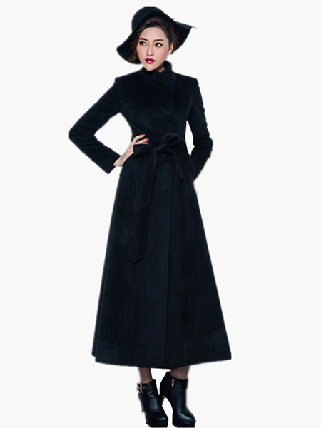 Milanoo Wool Blend Maxi Belted Coat