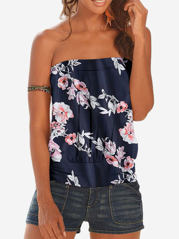 Floral Printed Sleeveless Strapless Pleated Tank Top