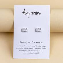 Aquarius Design Stud Earrings