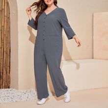Plus Single Breasted Patch Pocket Jumpsuit