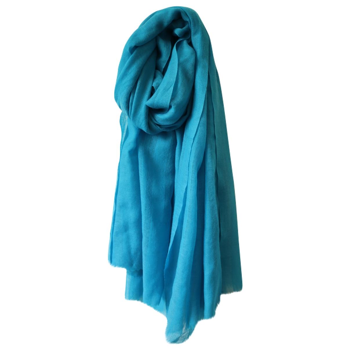 Khadi And Co \N Schal in  Blau Wolle