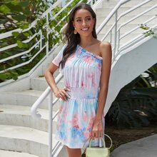 One Shoulder Frill Trim Shirred Tie Dye Dress