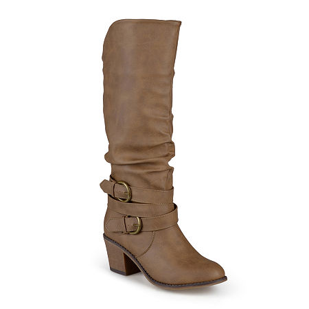 Journee Collection Womens Late Wide Calf Riding Boots, 11 Medium, Beige