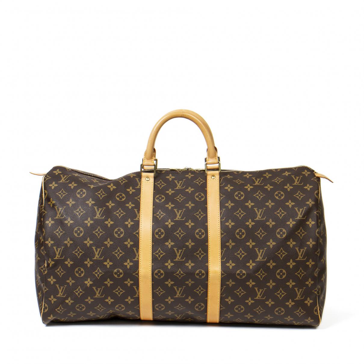 Louis Vuitton - Sac de voyage   pour femme en coton - marron