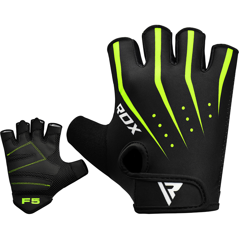 RDX F5 Weightlifting Gym Gloves Lycra Extra Large Green/Black/White