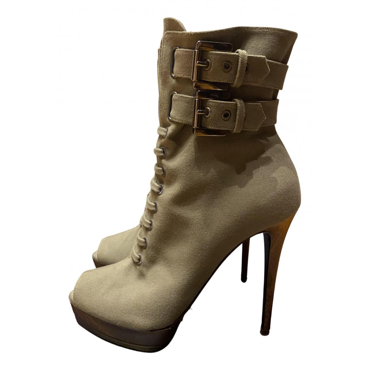 Le Silla \N Stiefel in  Khaki Leinen