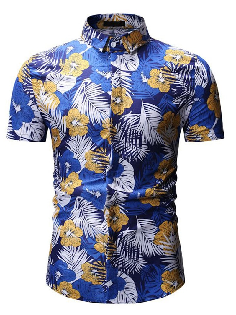 Ericdress Floral Printed Button Up Lapel Mens Short Sleeve Shirt