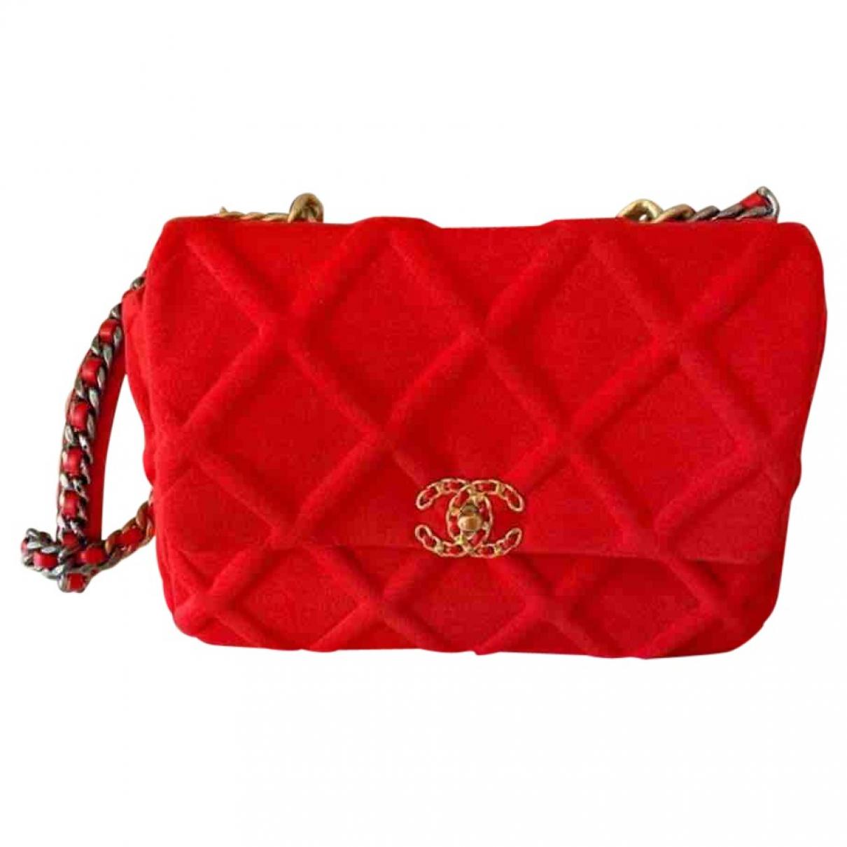 Chanel - Sac a main Chanel 19 pour femme en toile - rouge