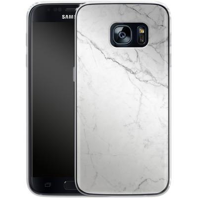 Samsung Galaxy S7 Silikon Handyhuelle - White Marble von caseable Designs