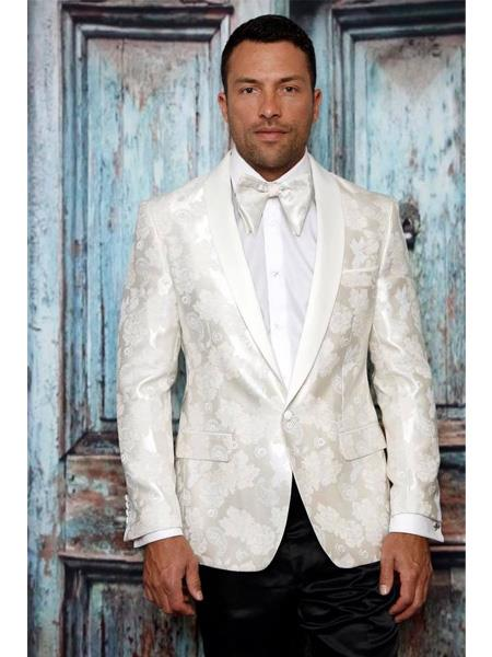 Men's One Button Shawl Lapel Paisley Pattern White Tuxedo