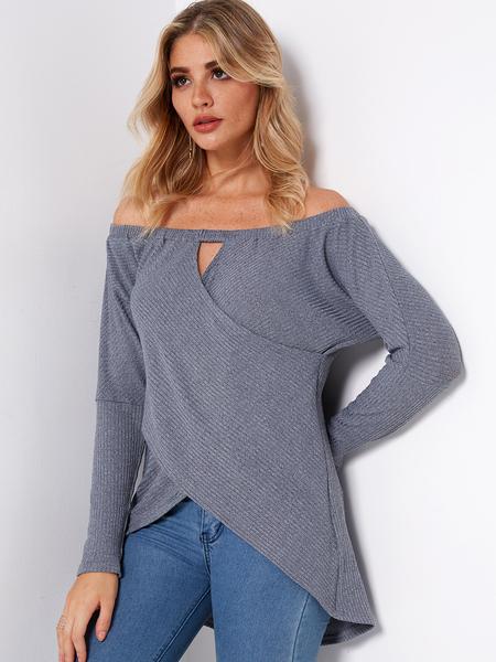 Yoins Grey Crossed Front Design Off Shoulder Hollow Details Irregular Hem T-shirts