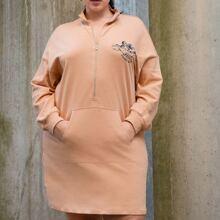 Vestido sudadera con estampado de letra