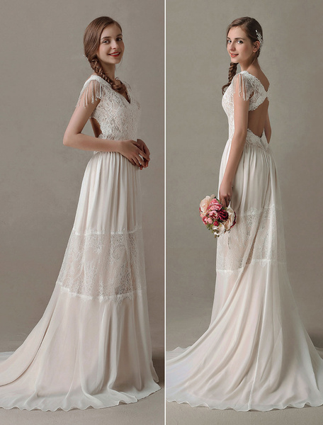 Milanoo Boho Wedding Dresses Gypsy Lace Chiffon Summer Beach Dress V Neck Backless Champagne Bridal Gown With Train