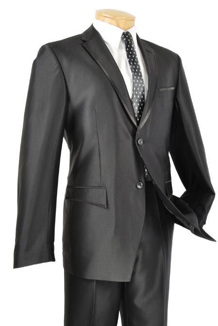 Slim Fit Black Framed Lapel Two Button Prom Tuxedo