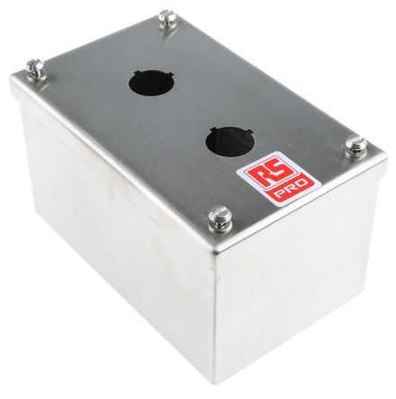RS PRO Stainless Steel Push Button Enclosure - 2 Hole 22mm Diameter