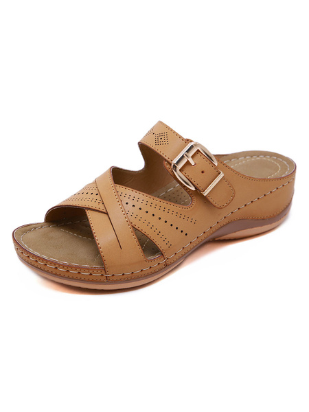 Milanoo Wedge Sandals For Woman Chic PU Leather Buttons Open Toe Breathable