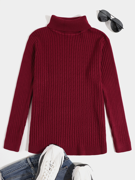 Yoins Men Solid Color Knitted Thicken High Neck Casual Sweater