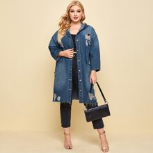 Plus Single Breasted Drawstring Waist Pocket Front Ripped Hooded Denim Jacket