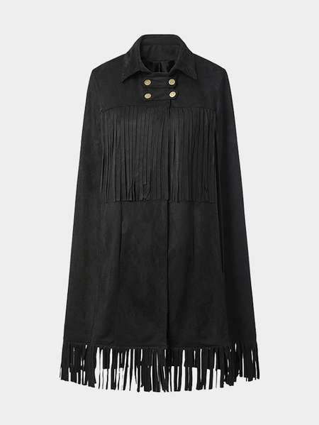 Yoins Black Suede Cape with Fringed Detail