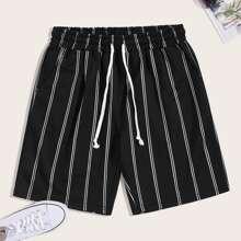 Men Vertical Stripe Drawstring Shorts