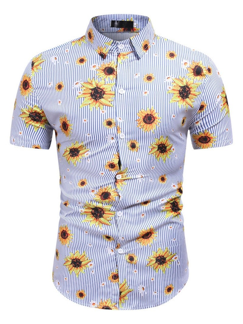 Ericdress Print Floral Lapel Single-Breasted Slim Shirt