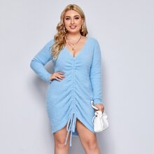 Plus Drawstring Ruched Fuzzy Sweater Dress