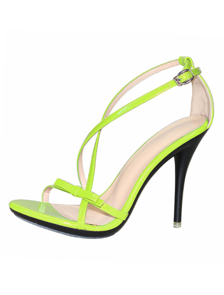 Milanoo High Heel Sandals Womens Criss Cross Open Toe Stiletto Heel Sandals