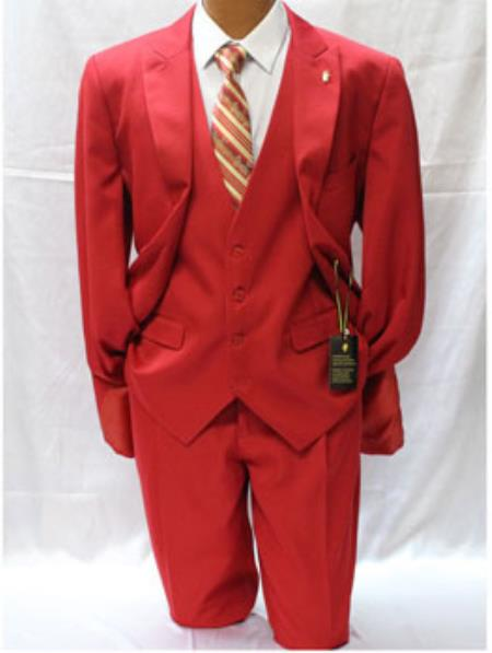 Mens Falcone Vett Red Classic Fit Solid Vested Suit