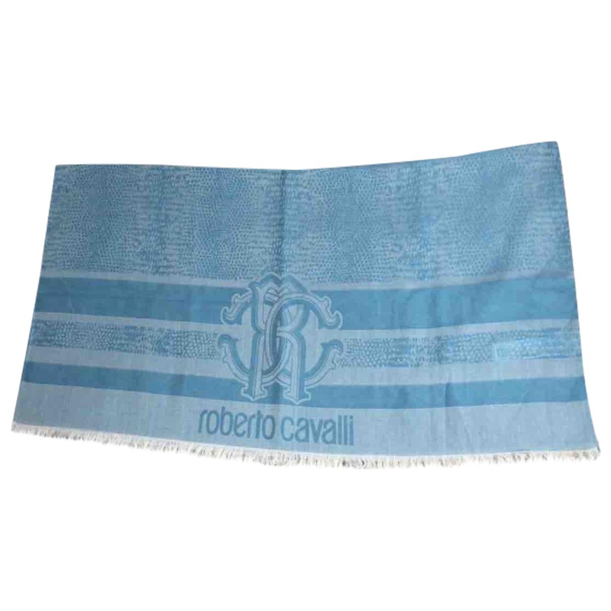 Roberto Cavalli - Foulard   pour femme en coton - bleu