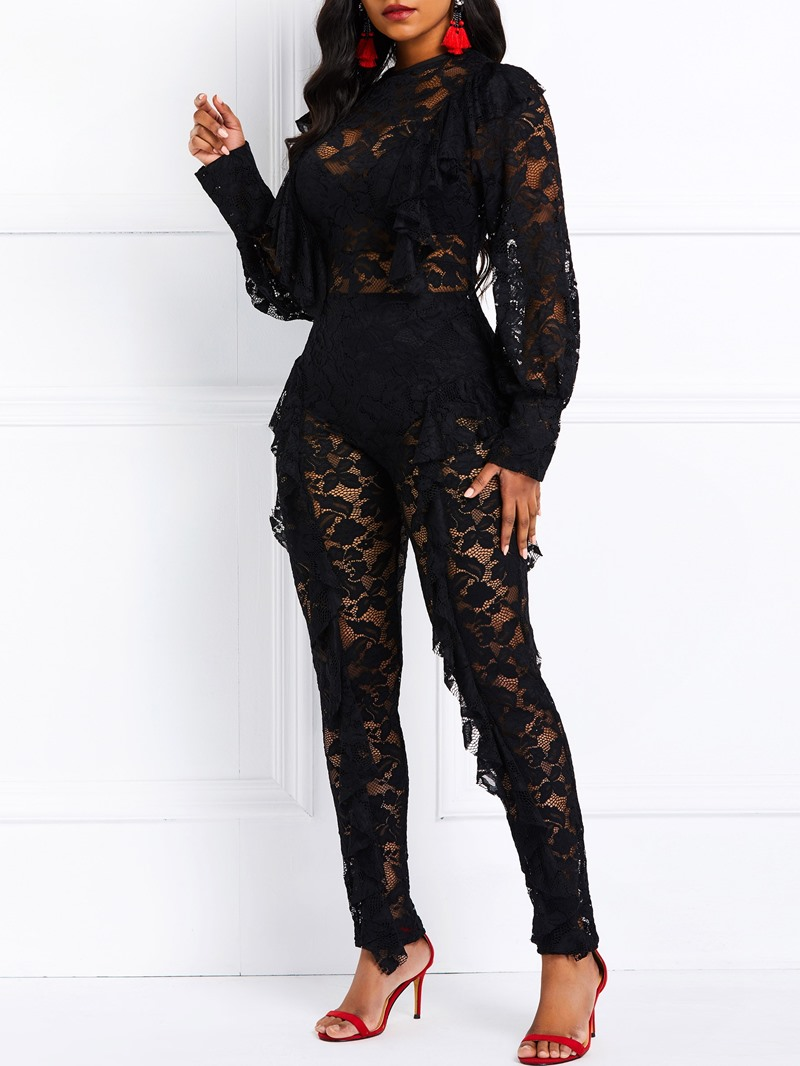Ericdress Ruffles Lace See-Through Patchwork Party Women's Jumpsuit