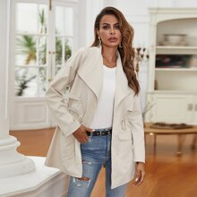 Waterfall Collar Drawstring Waist Trench Coat