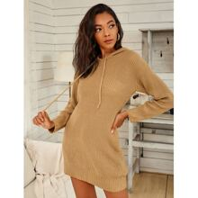 Drop Shoulder Drawstring Hooded Sweater Dress