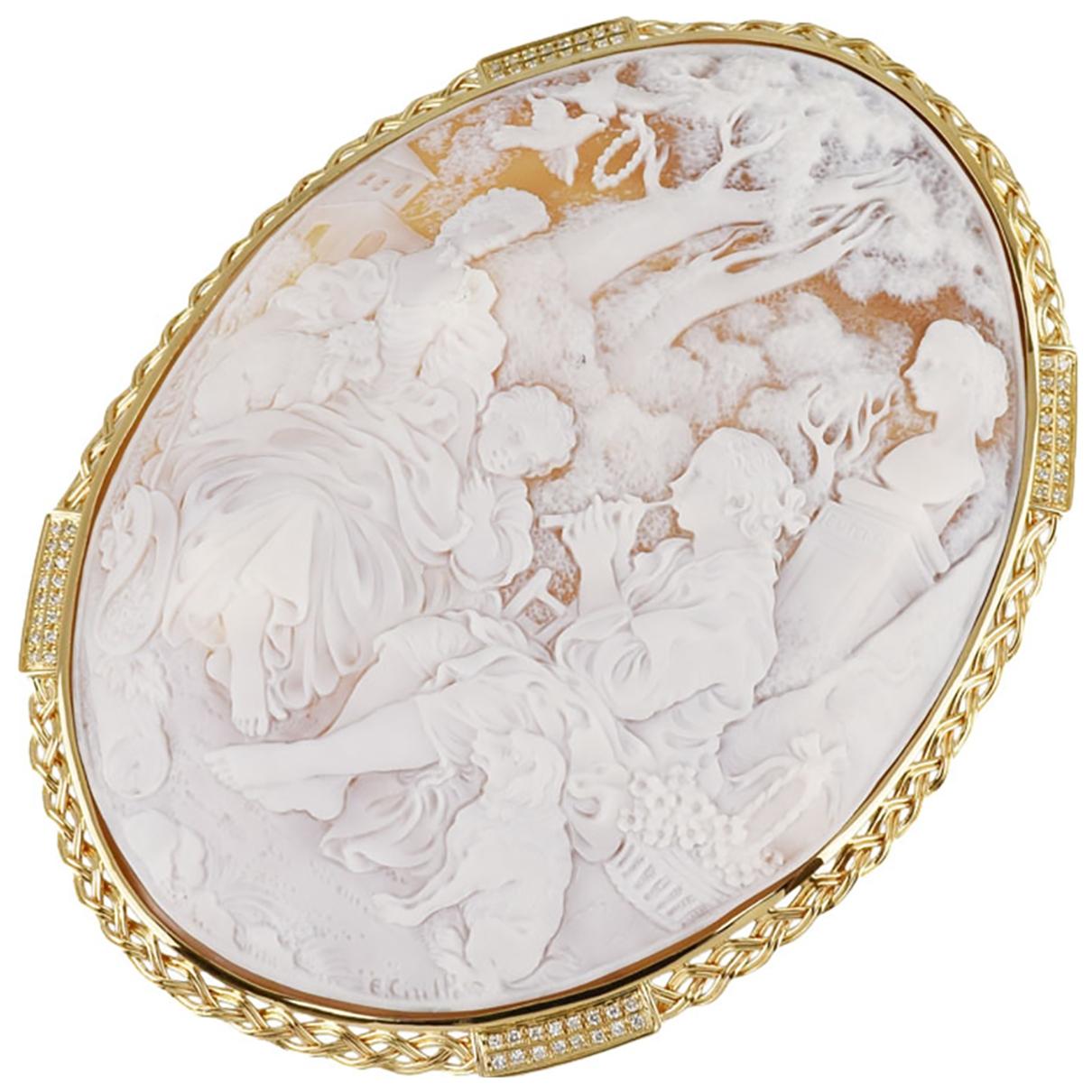 Broche Medailles de Oro amarillo Non Signe / Unsigned