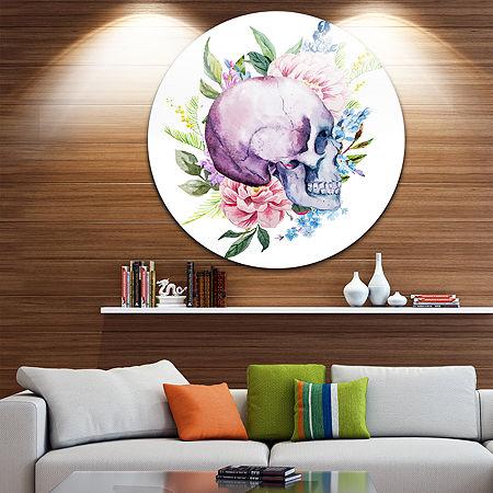 Designart Floral Metal Wall Art, One Size , Purple