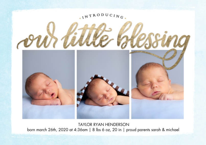 Baby Announcements Flat Glossy Photo Paper Cards with Envelopes, 5x7, Card & Stationery -Baby Blessing by Tumbalina