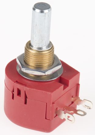 TE Connectivity 1 Gang Rotary Wirewound Potentiometer with an 6.35 mm Dia. Shaft - 10Ω, ±10%, 1W Power Rating, Linear,