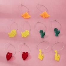 5pairs Round Decor Dinosaur Drop Earrings
