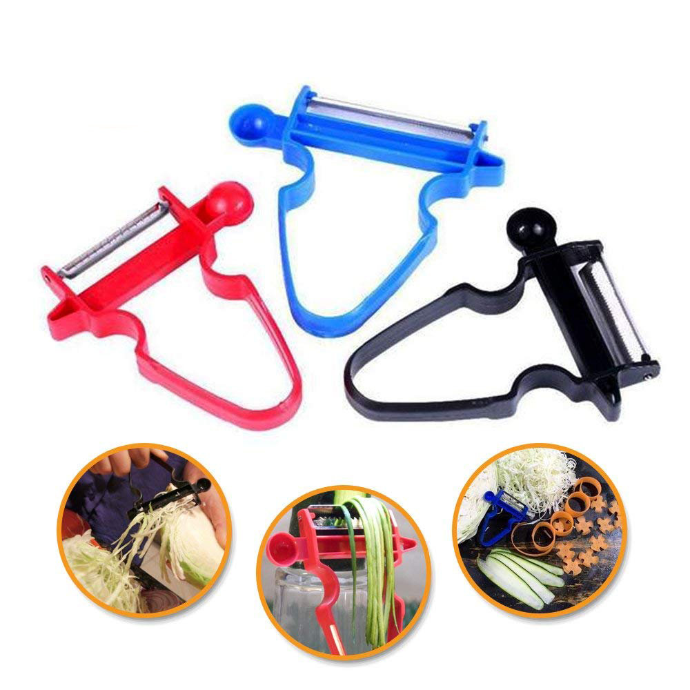 3 pcs / Set Magic Trio Peeler Multi-purpose Vegetable Cutter Onion Cutter Peelers Vegetable Silicer