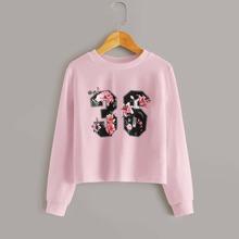 Pullover mit Blumen & Nummer Muster