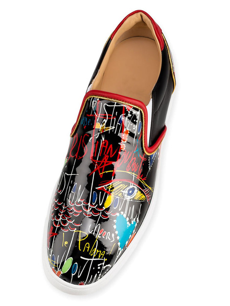 Milanoo Mens Black Loafers Round Toe Printed Slip On Shoes Casual Shoes