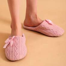 Bow Decor Wide Fit Knit Slippers