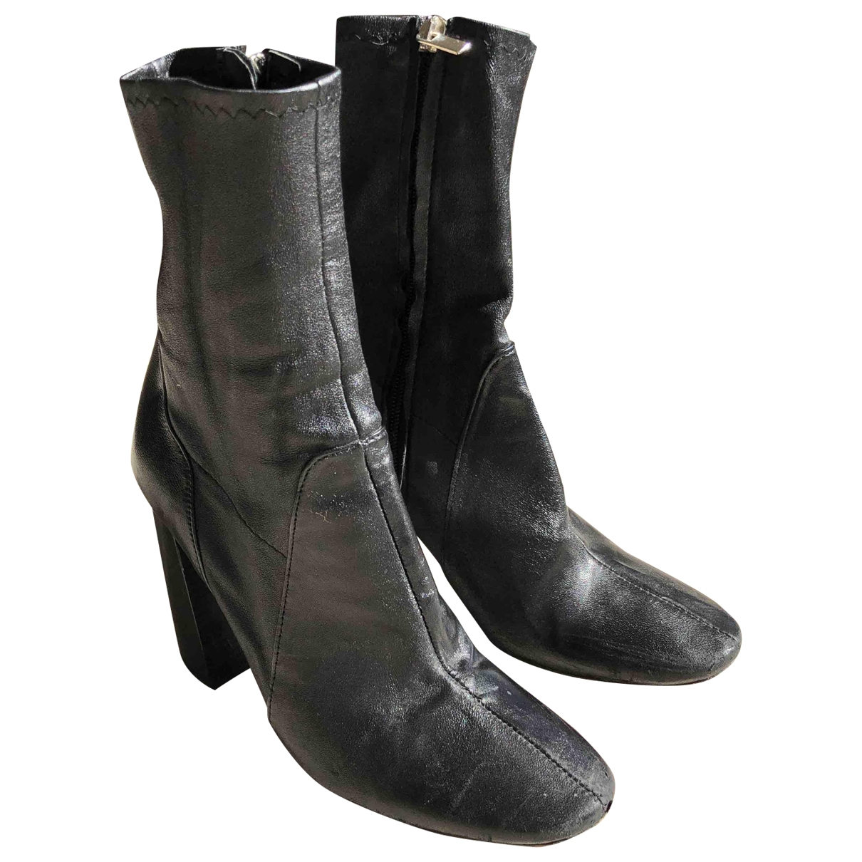 Zara \N Black Leather Ankle boots for Women 37 EU