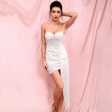 Chiffon metallisches Kleid mit Kontrast Pailletten und Puntken Muster