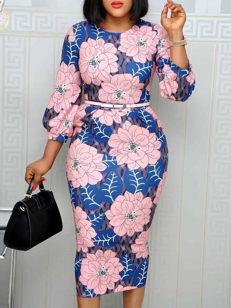 Ericdress Three-Quarter Sleeve Print Round Neck Pencil Office Lady Dress